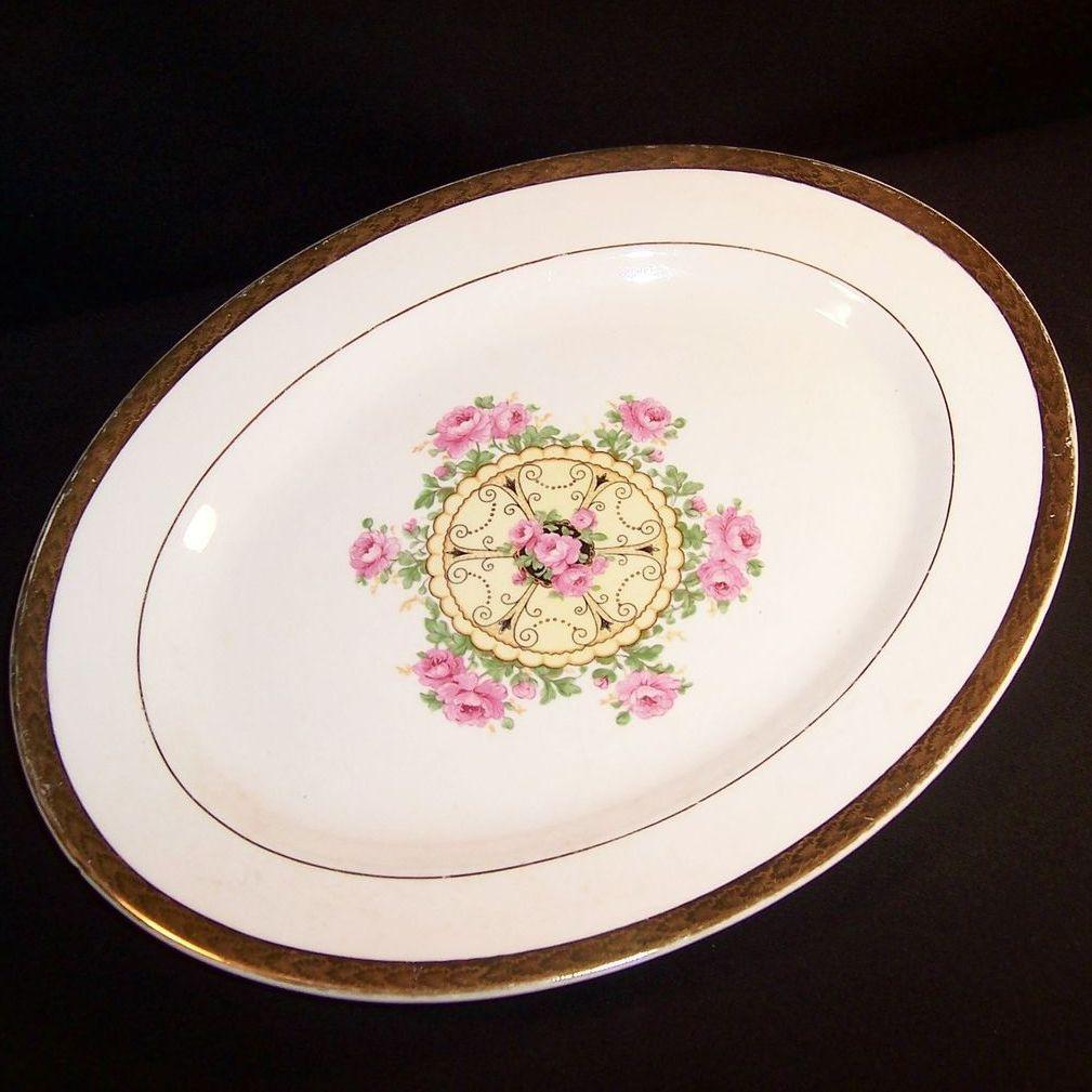 """Vintage 1940's """"Union Made"""": Southern Rose Platter, Embellished 22K Gold Leaf Trim"""