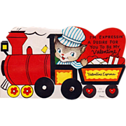 Unused Vintage 60's Mechanical Train Valentine