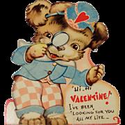 Vintage Mechanical Valentine Doggie Detective