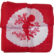 Vintage Secret Cupid Design Valentine Hankie