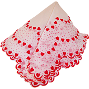 Valentine's Day Sheer & Dainty Flocked Hearts Hankie
