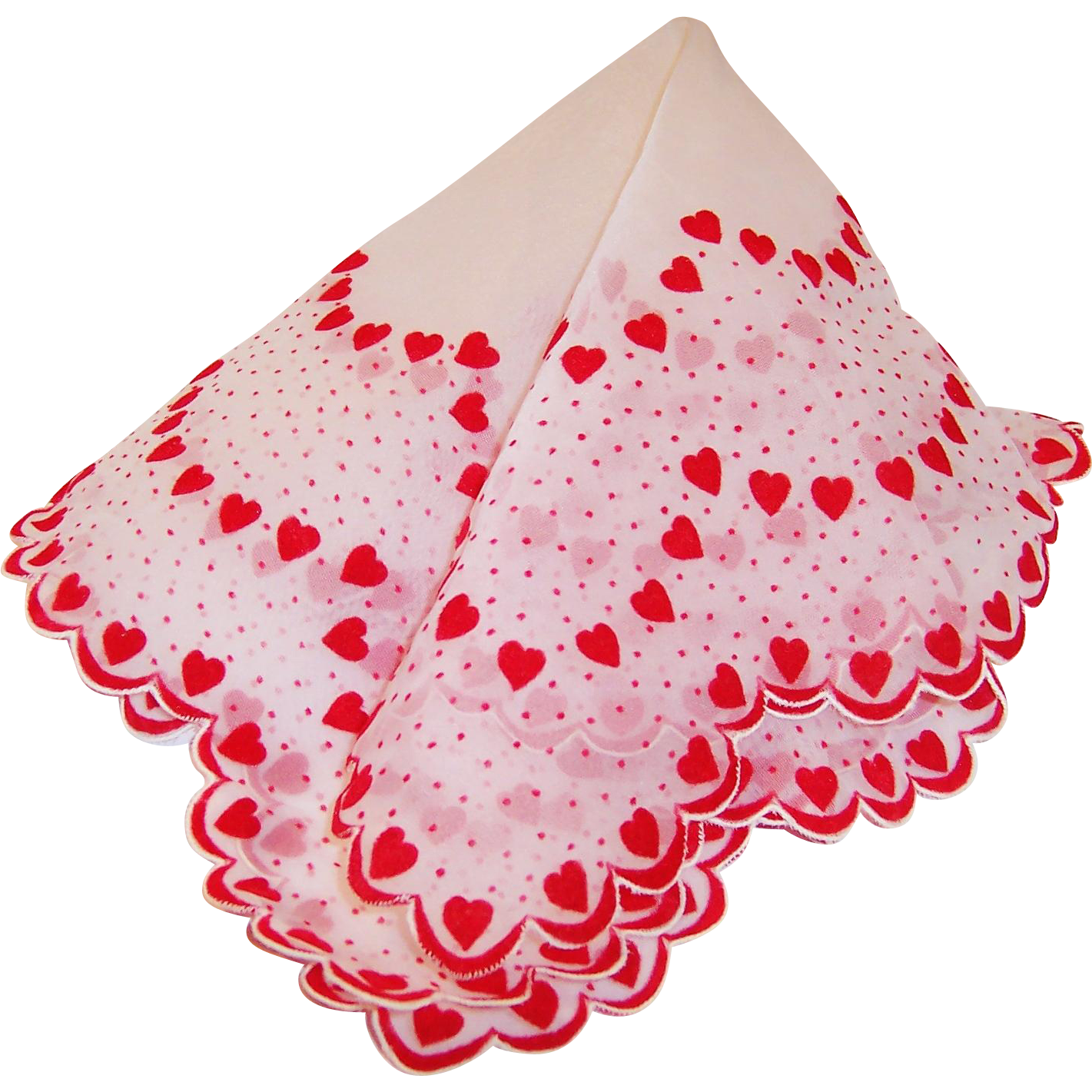 Valentine's Day Sheer & Dainty Flocked Hearts Hankie