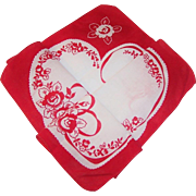 Vintage Hidden Heart Ribbons & Roses Valentine's Day Hankie