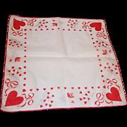 Vintage Hearts & Roses Sheer Hankie - Red Tag Sale Item