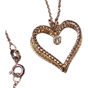 Double Heart Pendant & Crystal Rhinestone Valentine Necklace