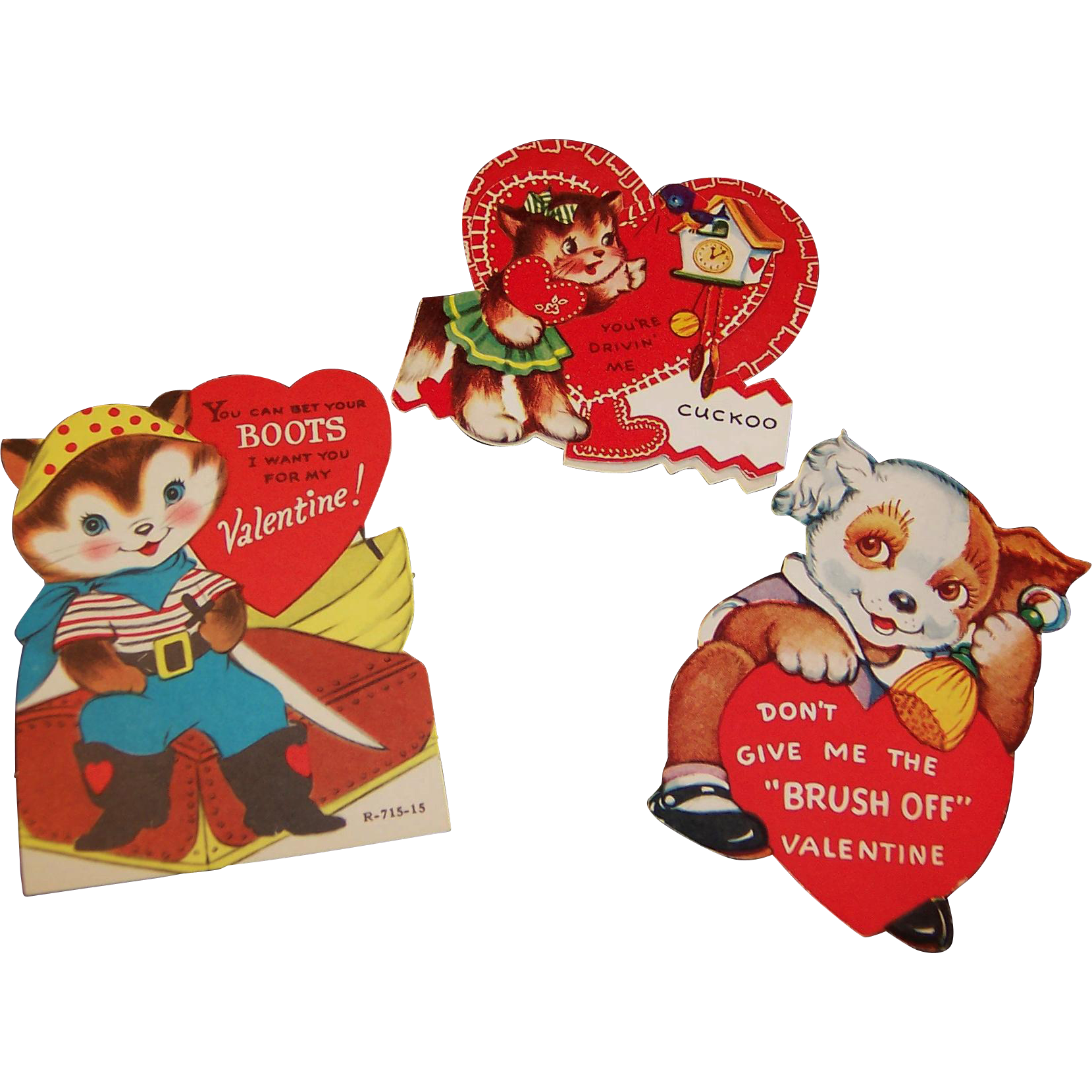 Vintage Valentine Trio; Cuckoo Cat, Puss-N-Boots, Dog Brush