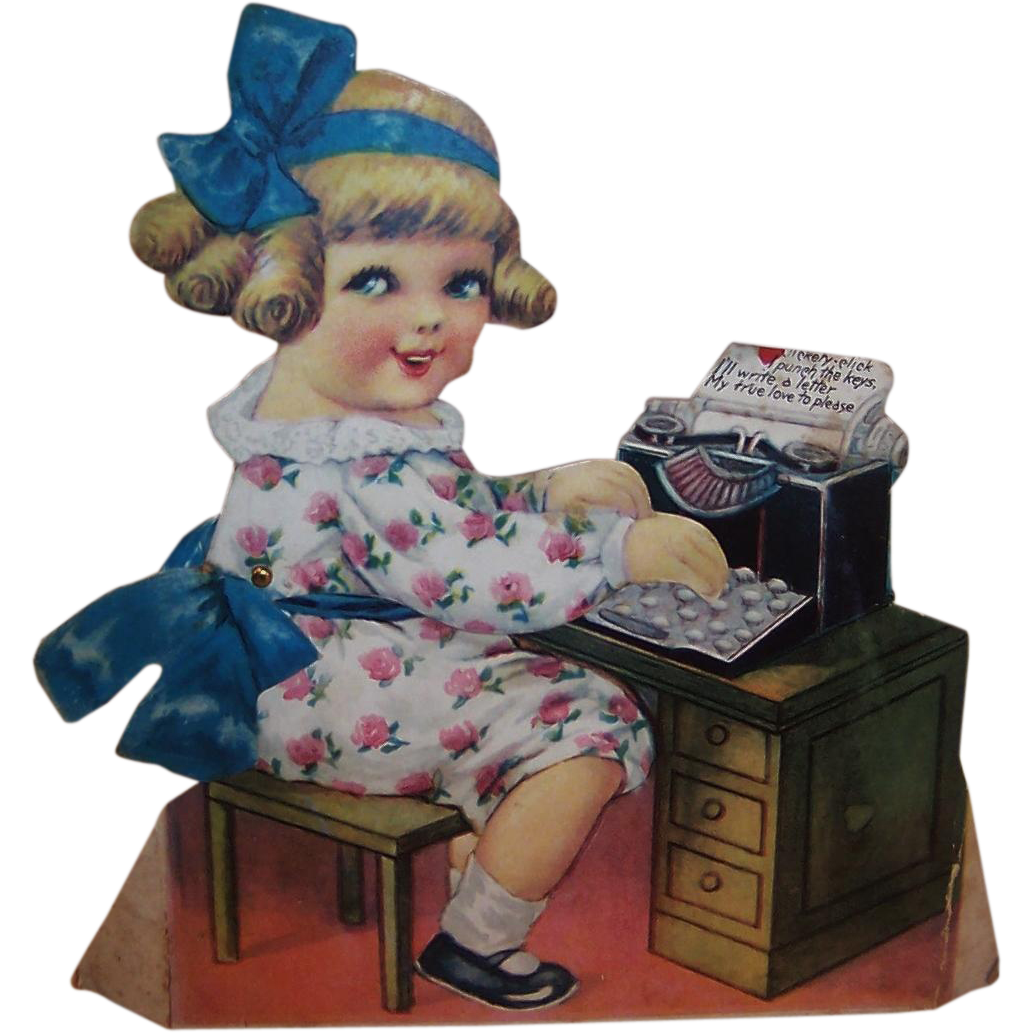 Large Unused Vintage 1920's Mechanical Valentine Girl & Typewriter