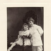 Antique Victorian Photograph: Catherine in Carved Chair with Brother Hugh