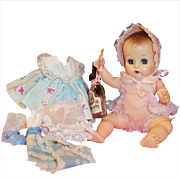 Lovely! 1957 Vogue Ginnette Baby Doll; 2 Outfits, 2 Bonnets, Shoes, Socks, Diaper  & Glass Bottle