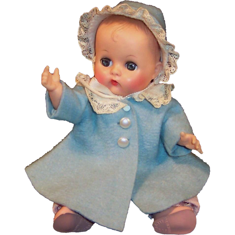 Pretty! Vogue 1950's Ginnette Doll Baby, Coat, Bonnet, Overalls, Blouse, Stocking Cap, Shoes and Socks