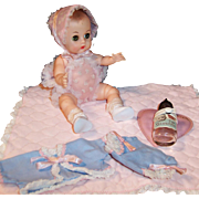 Beautiful Vogue 1950's Ginnette Doll Baby; 2 Outfits, Socks, Shoes, Travel Blanket, Bottle and Holder