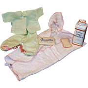 Vintage 1956 - 57 Vogue Ginnette Doll's Bath Set and Footed Pajamas -- Excellent!