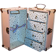 Vintage 1950's Pink White Metal Doll Trunk Great Condition
