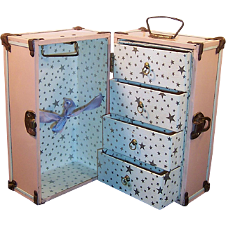 Vintage 1950's Pink White Metal Doll Trunk Suitcase Great Condition