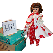 1950's Vogue Jill Bent Knee Walker Doll w/ Red White Polka Dot Pajamas, Robe, and 2 Boxes