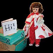 1950's Vogue Jill Bent Knee Walker Doll w/ Red White Polka Dot Pajamas, Robe, and 2 Boxes