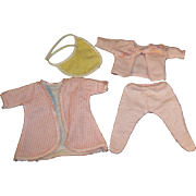 """Vogue Ginnette (or other 8"""" Dolls) Flannel Footed PJ's, Robe (# 6731) & Bib"""