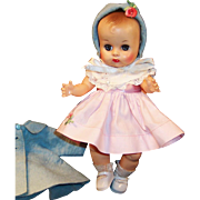 Gorgeous Vogue 1950's Ginnette Doll Baby, Dress, Socks, Shoes, Diaper, Coat and Bonnet!