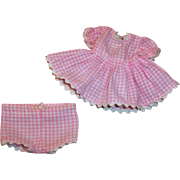 1950's Vintage Vogue Doll Ginny or Ginnette Pink Checkered Dress