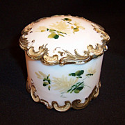 Victorian Milk Glass Round Dresser or Vanity Box