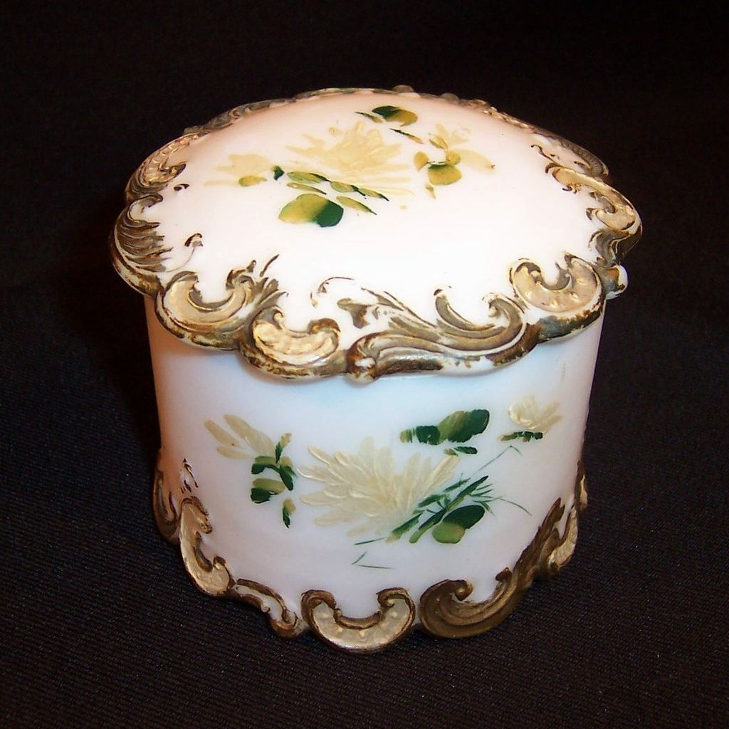 Victorian Milk Glass Round Dresser or Vanity Box