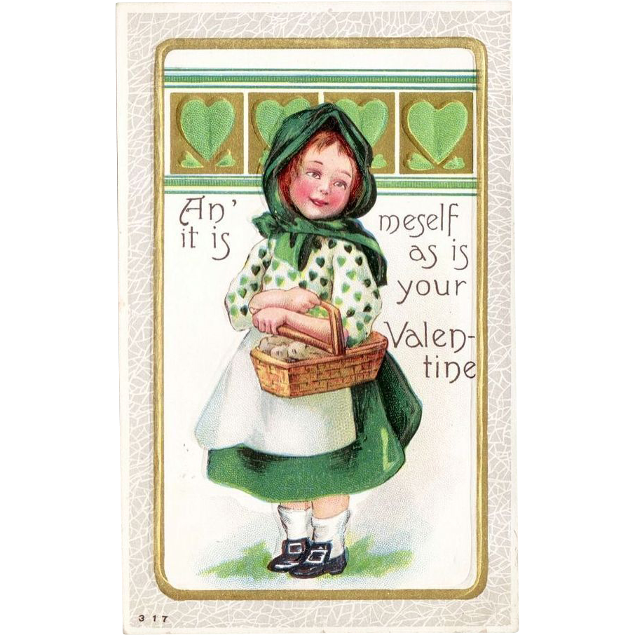 Vintage Valentine Irish Lass Postcard