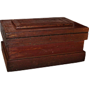 Large Vintage Wooden Tool Chest Storage Box