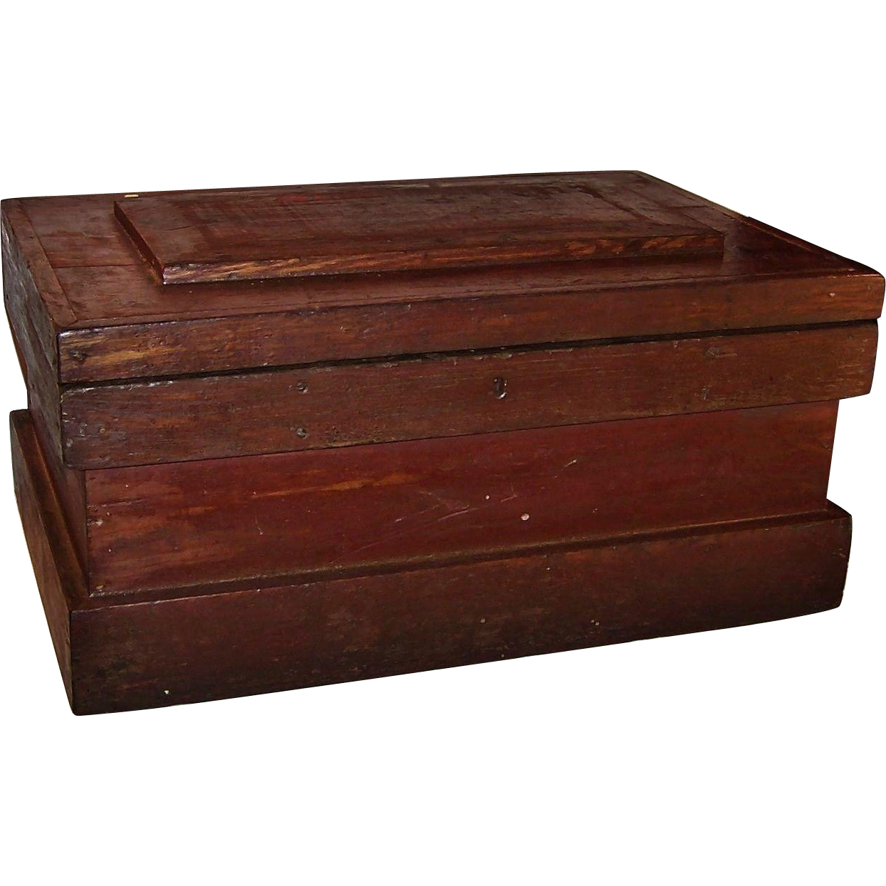 Large Vintage Wooden Tool Chest Storage Box From
