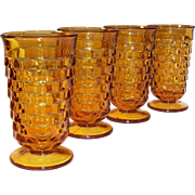 SET of 4: Vintage Amber Whitehall Cube Pattern 12 oz. Tumblers
