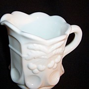 Westmoreland White Milk Glass Creamer;  Cherry Cable Thumbprint Pattern