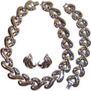 Signed Carolee Modernist Necklace, Bracelet, & Pierced Earrings Set