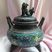 Old Chinese Cloisonne Foo Dog Incense Burner