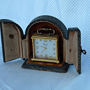Elegant Art Deco Miniature Brass Clock with Leather  Case