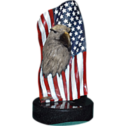 Magnificent American Eagle with Flag Sculpture