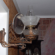 Antique Victorian Kerosene Wall Lamp A &P Risdon,Danbury,CT