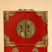 Chinese Red Painted Wood Jewelry Box 20th Century