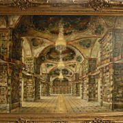 Large Oil on Canvas  Painting  Library