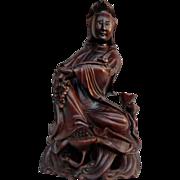 Vintage Oriental Guan Yin Wooden Statue cir. 1920s'
