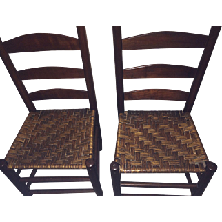 Two Primitive Ladder Back Chairs
