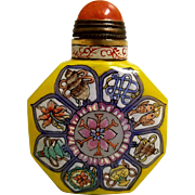 "Vintage Hand Painted ""Eight Buddhist Treasures ""Snuff Bottle"