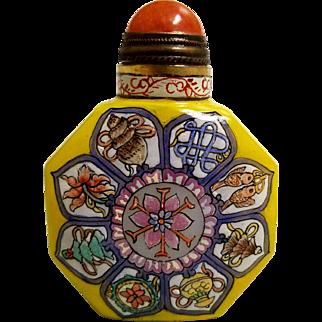 "Vintage Hand Painted ""Eight Buddhist Treasures ""Snuff Bottle"
