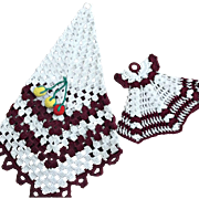 Vintage Crochet Pot Holder Set Ecru Maroon Fruit Dress Kitchen Decor