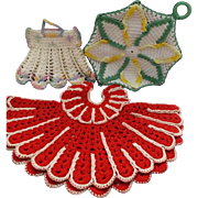 Set of Three Vintage Crochet Pot Holders Hot Pads Dress Flower