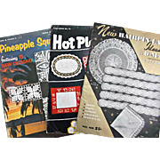 Crochet Pattern Booklets Vintage Hairpin Lace Pineapple Squares Hot Plate Mats
