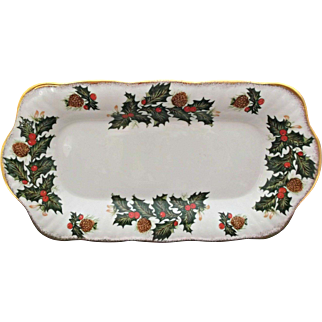 Vintage Royal Minster Fine Bone China Condiment Trays Holly Berries Pinecones