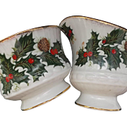 Clifton Bone China England Vintage Creamer Sugar Holly Berries Pinecones
