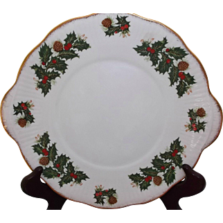 Two Vintage Serving Plates Rosina China Queens Yuletide Holly Berries Pinecones