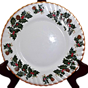 Vintage Rosina China Plates Queen's Yuletide Set of Nine Holly Berries Pinecones