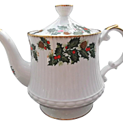Clifton Bone China Vintage Coffee Tea Pot Holly Berries Pinecones Gold Gilt