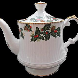 Clifton Bone China Vintage Coffee Tea Pot Holly Berries Pinecones Gold Gilt